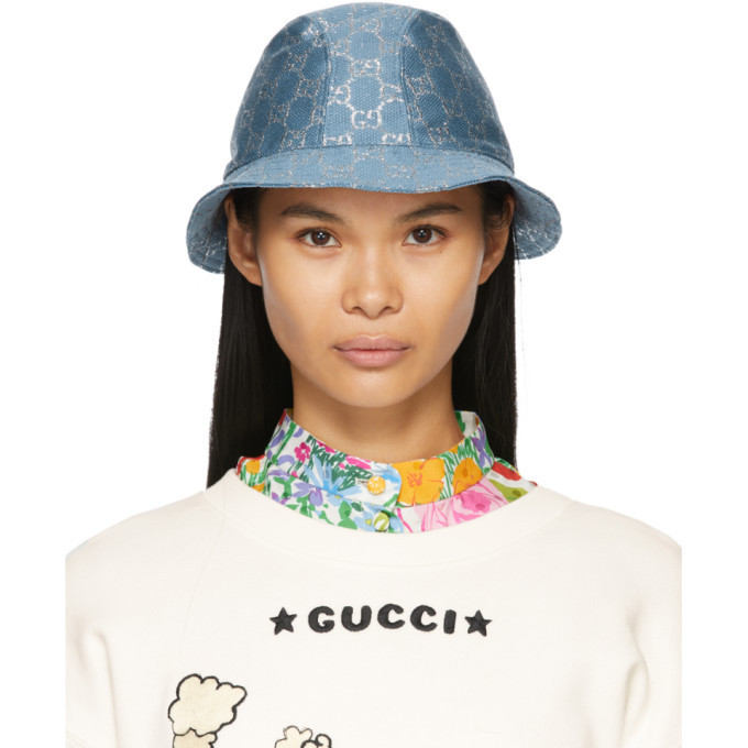 Gucci Blue Lame GG Bucket Hat in turquoise