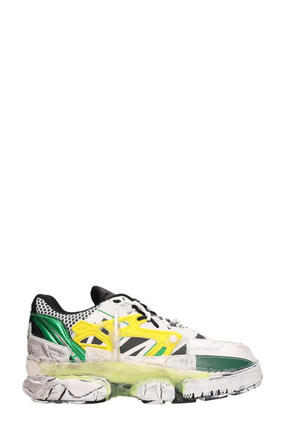 Maison Margiela White And Green Leather Addict Sneakers