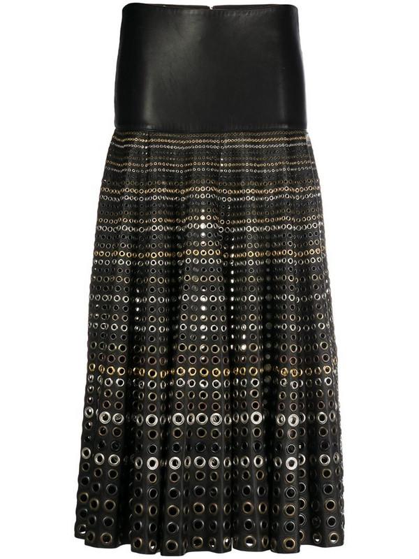 Gianfranco Ferré Pre-Owned 2000s rivet detail midi skirt in black