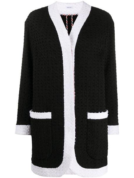 Thom Browne Unconstructed Dropped Shoulder Menswear Fit Cardigan Jacket w/ Combo In Solid Eyelash Yarn Tweed in black