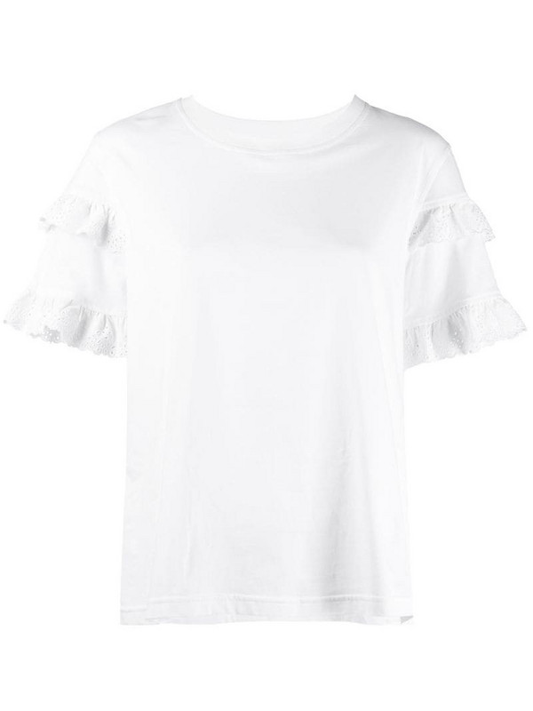 McQ Swallow ruffled sleeve T-shirt in white