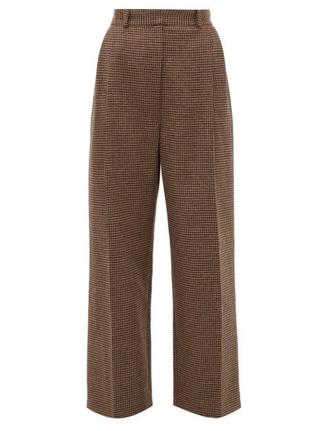 Racil - Robert Side Striped Houndstooth Wool Trousers - Womens - Brown