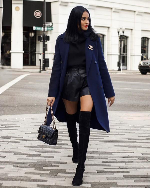 shorts black shorts leather over the knee boots black boots black bag turtleneck sweater