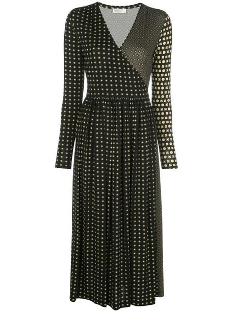 Stine Goya tile-print wrap-neck midi dress in black
