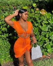 dress,orange dress,two piece dress set,ruffle dress