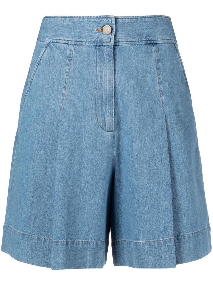 A.P.C. A.P.C. high-waisted pleated denim shorts - Blue