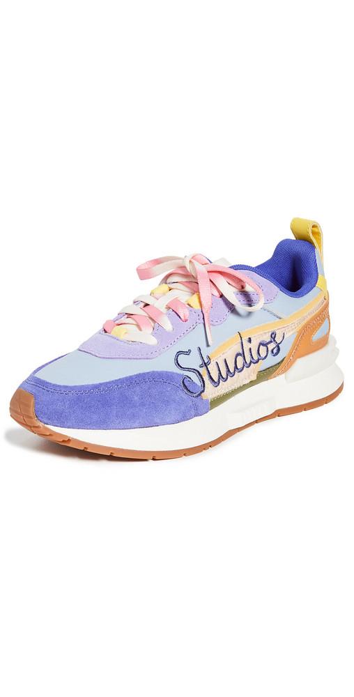 PUMA x KidSuper Mirage Mox Sneakers in blue / sand