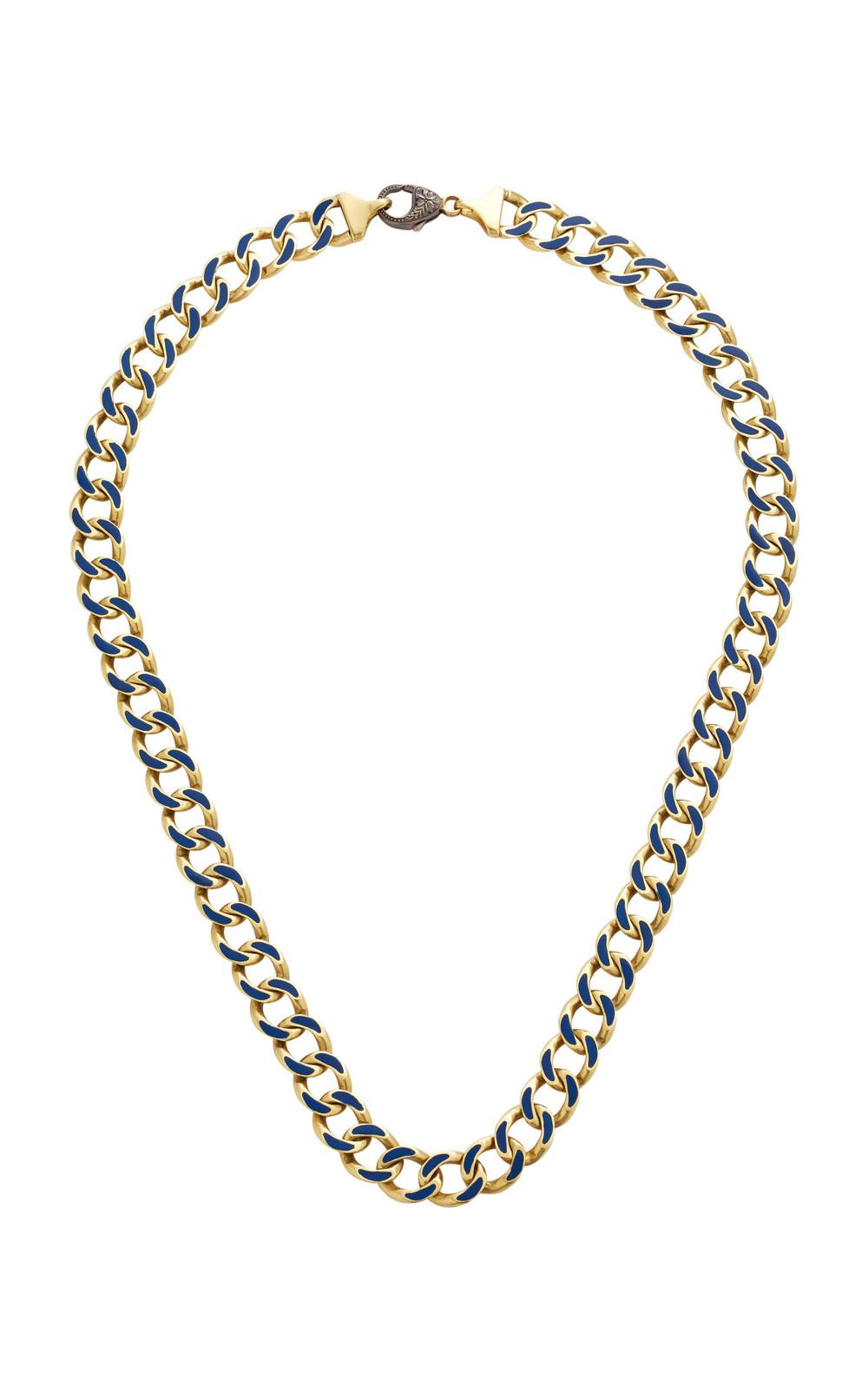 Sylva & Cie 18K Gold Enamel Necklace in blue