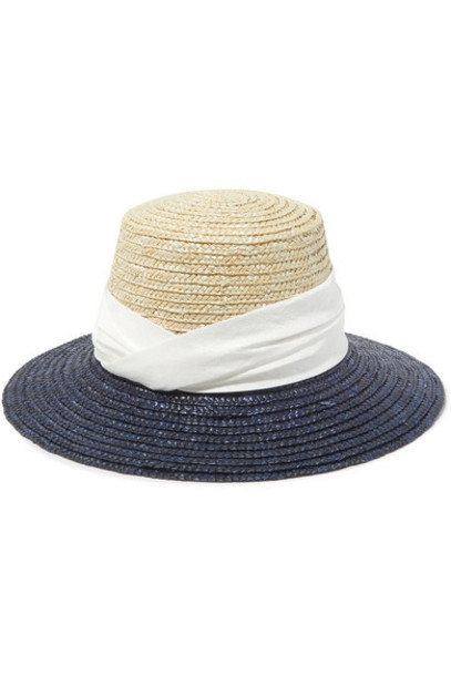 Eugenia Kim - Stevie Satin-trimmed Two-tone Straw Hat - Navy