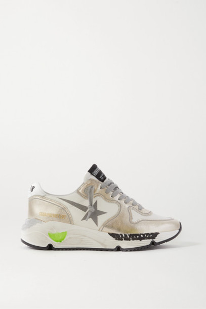 Golden Goose - Running Sole Distressed Metallic Leather Sneakers - White