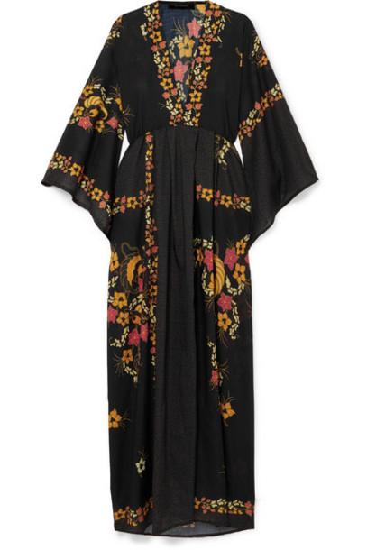 Celia Dragouni - Floral-print Georgette Maxi Dress - Black