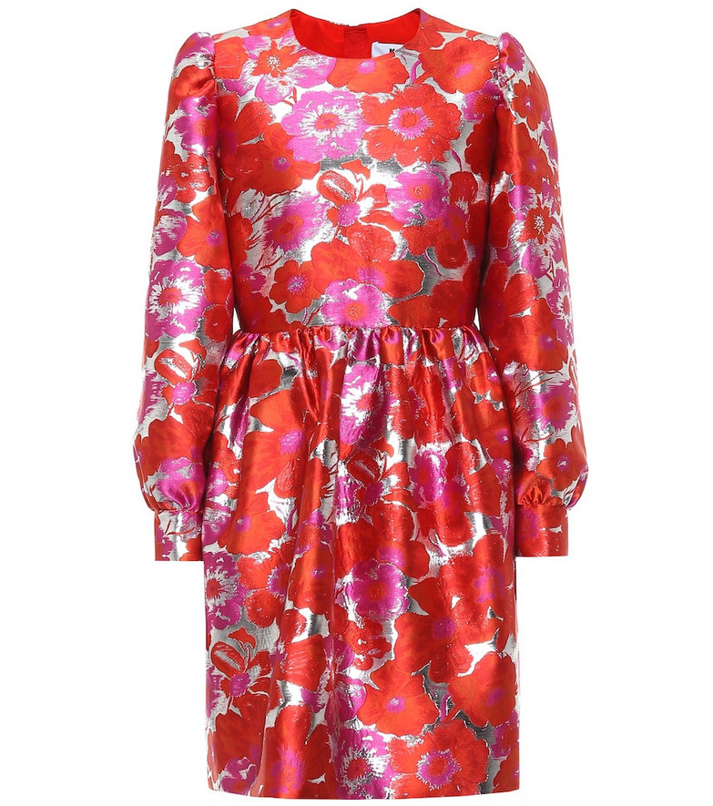 MSGM Floral brocade minidress in red