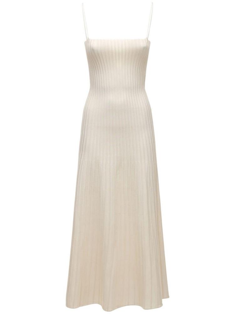 CASASOLA Viscose Blend Knit Midi Dress in ivory