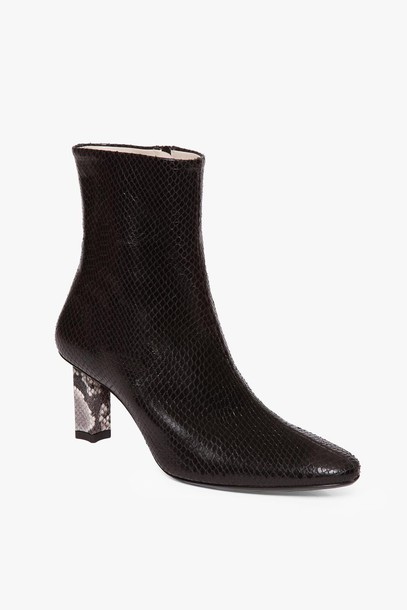 Staud BRANDO BOOT | BLACK SNAKE CREAM SNAKE
