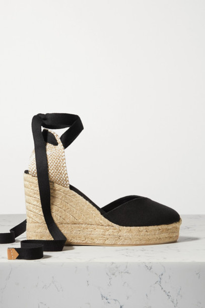 Castañer - Chiara 80 Canvas Wedge Espadrilles - Black