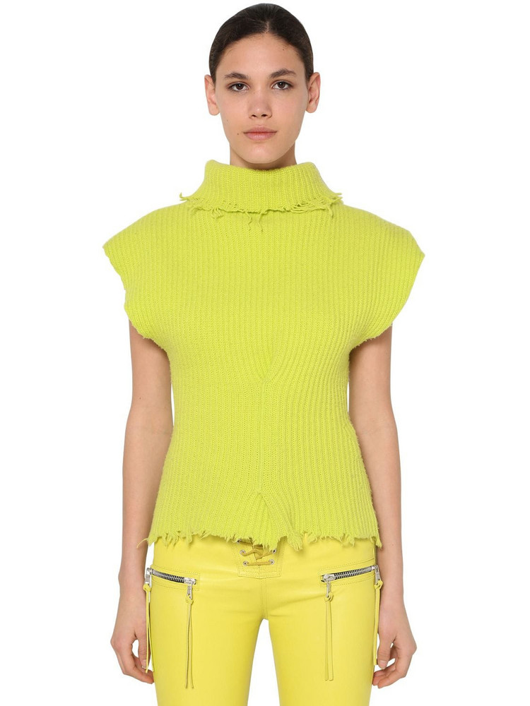 UNRAVEL Structured Wool Blend Top in yellow