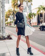 shoes,black boots,ankle boots,louis vuitton,midi dress,sleeveless dress,pleated,black top,black bag