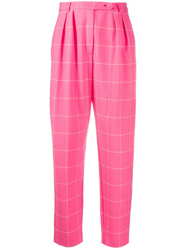 Styland checked tapered trousers in pink