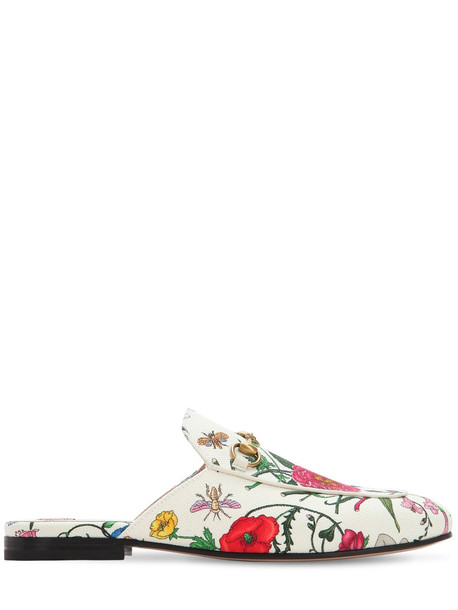 GUCCI 10mm Princetown Flora Canvas Mules in white / multi