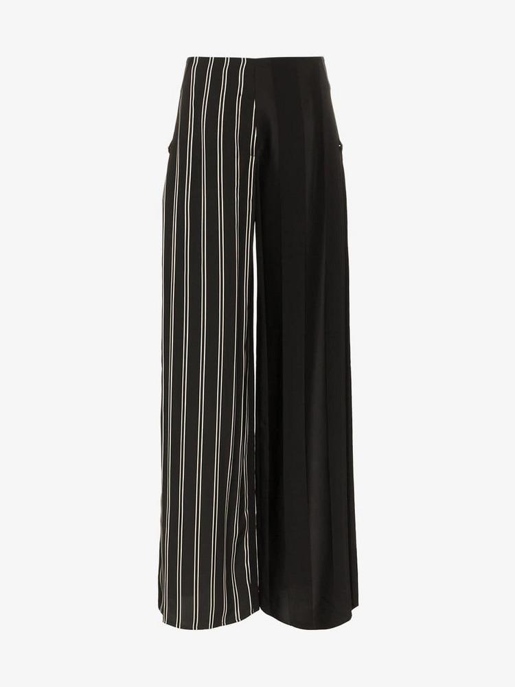 Esteban Cortazar side closure striped wool blend trousers in black