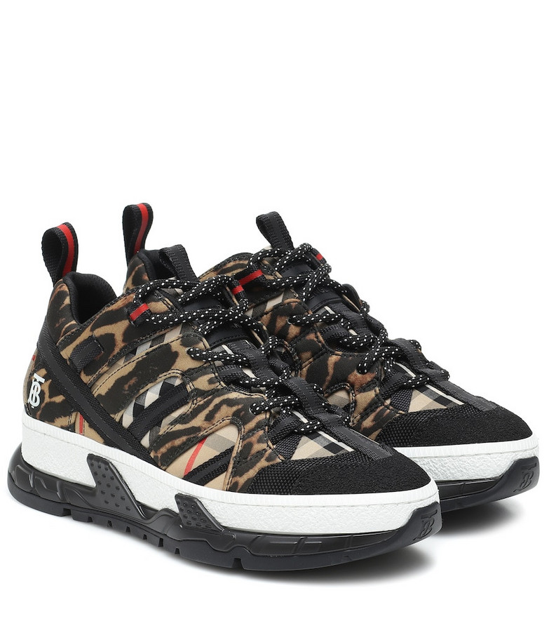 Burberry Union leopard-print neoprene sneakers in black