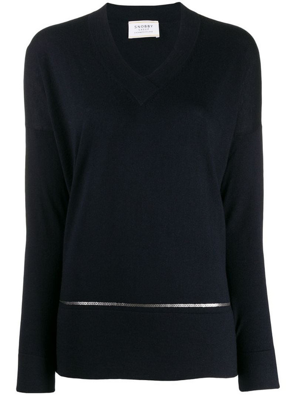 Snobby Sheep sequin lined jumper in blue