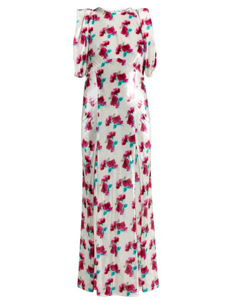 Attico - Floral Velvet Dress - Womens - White Multi