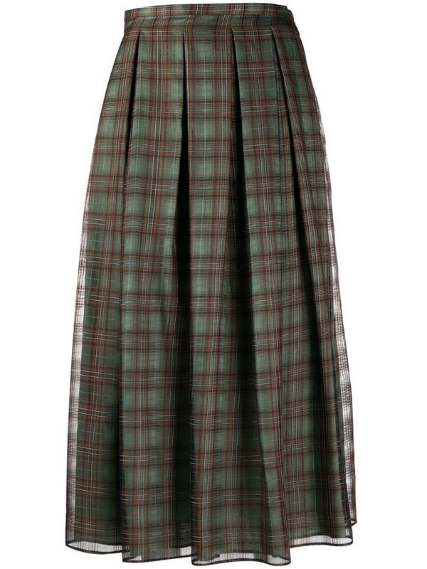 Aspesi check-pattern pleated skirt in green