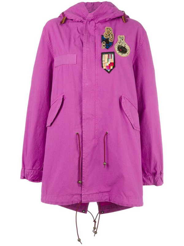 Mr & Mrs Italy Bouganville patched mid parka in pink