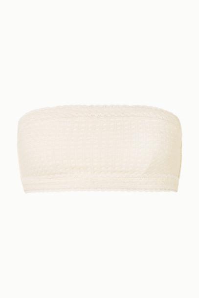 Peony - Wicker Metallic Crochet-knit Bandeau Bikini Top - White