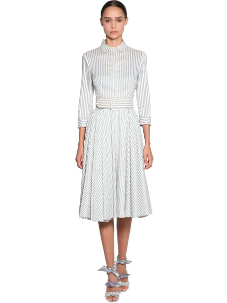 LUISA BECCARIA Striped Linen Shirt Dress in blue / white