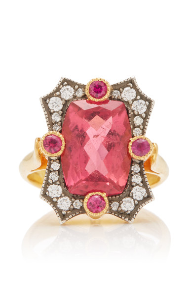 Arman Sarkisyan One of a Kind 22K Gold and Rubellite Ring Size: 6 in red