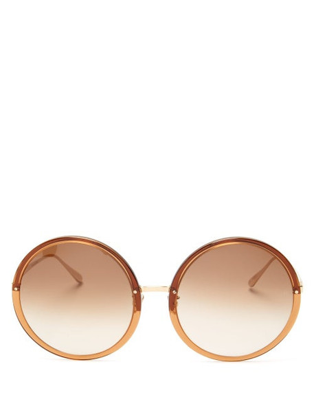 Linda Farrow - Kew Oversized Round Acetate Sunglasses - Womens - Brown