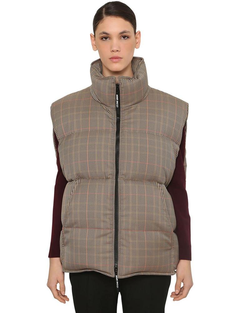 NINA RICCI Sleeveless Down Vest Jacket in brown