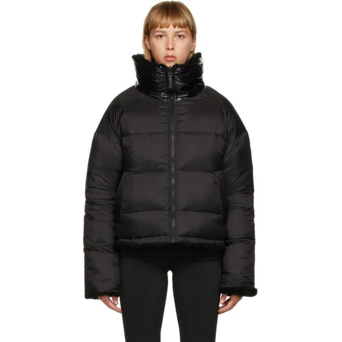 Yves Salomon - Army Reversible Black Down Sherpa Cropped Jacket in noir