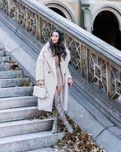 coat,faux fur coat,h&m,snake print,over the knee boots,heel boots,mango,white bag,handbag,turtleneck dress,belt