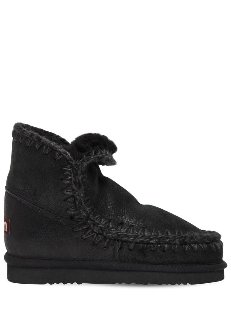 MOU 20mm Eskimo 18 Metallic Shearling Boots in black