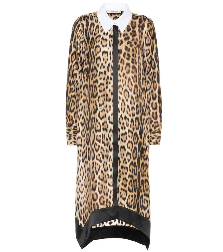 Roberto Cavalli Leopard-print silk shirt dress in brown