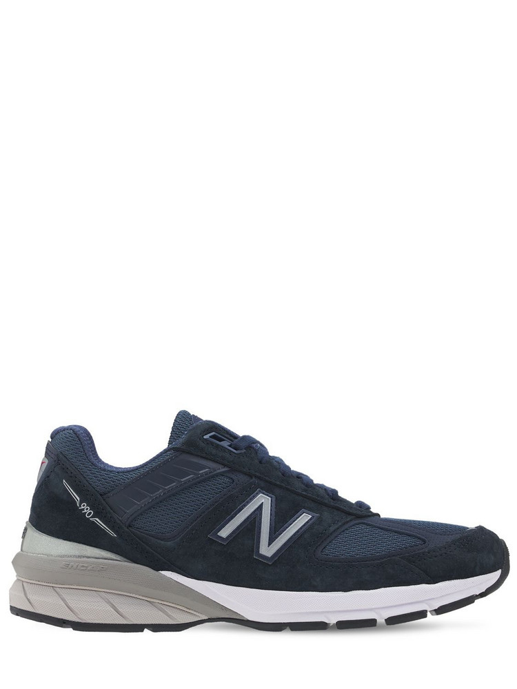 NEW BALANCE 990 V5 Suede & Mesh Sneakers in navy