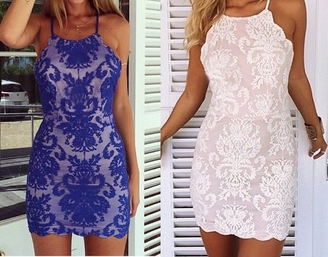 Blue Lace Spaghetti Strap Scoop Neck X Back Halter Bodycon Mini Dress on Storenvy