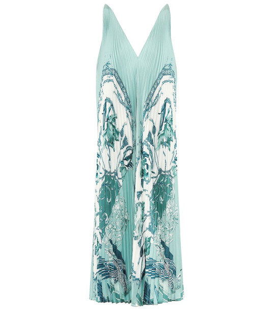 Salvatore Ferragamo Printed silk-faille dress in blue
