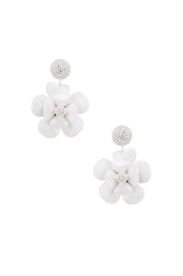 Sachin & Babi Plastic Flower Earrings in white