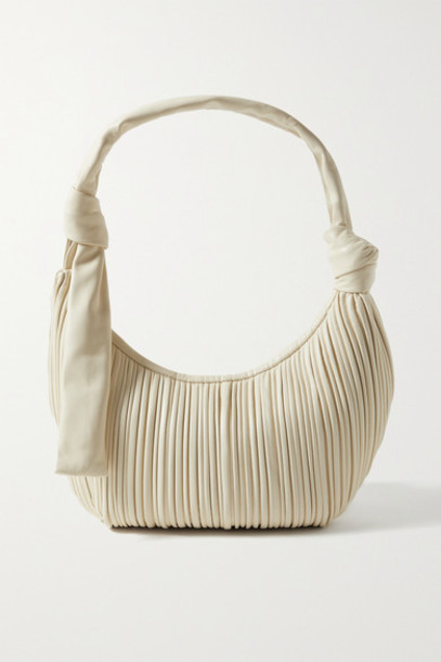 Neous - Neptune Knotted Pleated Leather Shoulder Bag - Cream