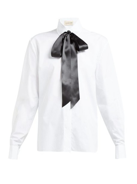Alexandre Vauthier - Bow And Crystal Trimmed Cotton Poplin Shirt - Womens - White Multi