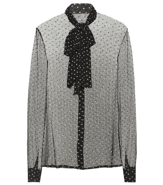 Saint Laurent Star-printed silk shirt in black