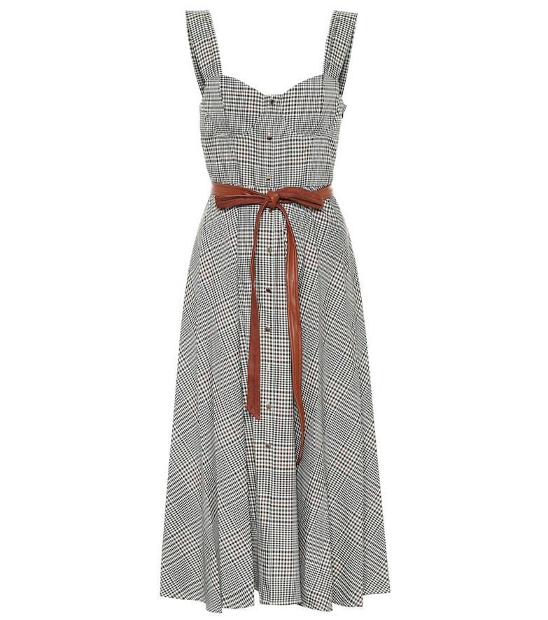 Staud Inda checked midi dress in grey