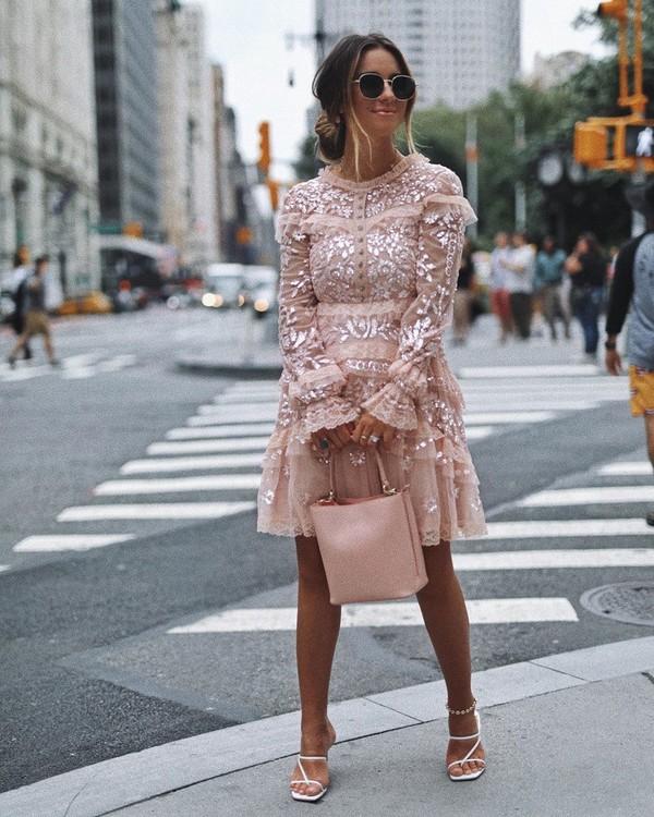 dress mini dress pink dress lace dress long sleeve dress pink bag white sandals