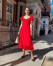 dress,midi dress,red dress,shoes,handbag