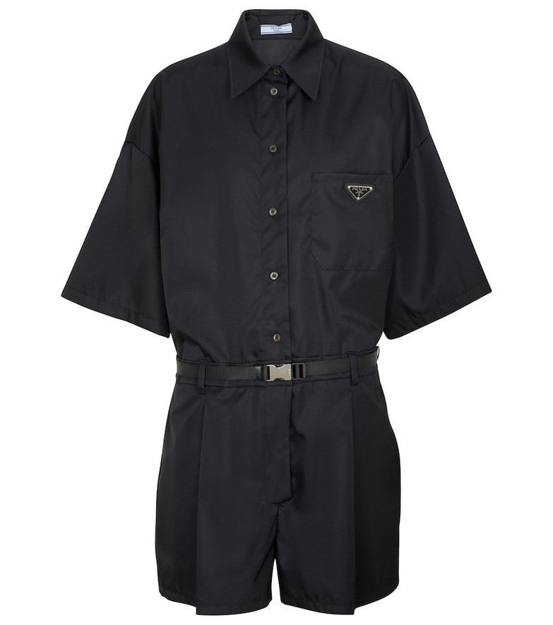 Prada Re-Nylon belted logo playsuit in black