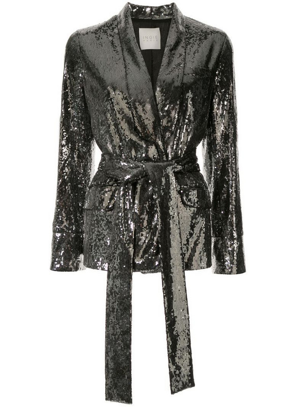 Ingie Paris sequin belted blazer in silver